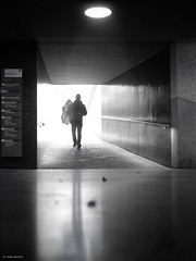 Sometimes it is good to have an umbrella (René Mollet) Tags: down under underground umbrella rain man blackandwhite street streetphotography silhouette shadow backlight