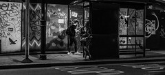 Waiting for a bus (PhredKH) Tags: 50mm canon canon5dmkiii canonphotography latenight london londonbynight lowlight night nightphotography oldstreet photosbyphredkh streetsoflondon urban outdoorphotography outdoors people phredkh fredkh bwemotions