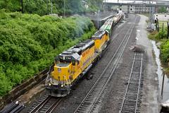 Sd40N's in the rain. (Machme92) Tags: unionpacifc up union trains tracks trees railroad railfanning railroads railfans rails rail row railroading railfan nikon rain sky c0 clouds