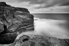(Claire*Marsh) Tags: portland bill dorset jurassiccoast uk blackandwhite bw mono monochrome cliffs sea rocks water waves crashing motion movement longexposure le ndfilter 10stopper srb sonya6000 samyang12mm wideangle lens