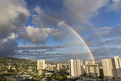Double Rainbow over Honolulu (dr_stan3) Tags: double rainbow clouds sky city honolulu oahu hawaii travel canon ef2470mmf28liiusm