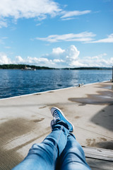 View (borishots) Tags: sony sonya7 sonyfe28mmf2 28mm wideangle wide oslo norway scandinavia analog retro vintage bokeh bokehlicious bokehwhore sea water sky clouds blue jeans