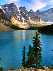 Trio - iPhone (Jim Nix / Nomadic Pursuits) Tags: iphone snapseed travel alberta canada landscape banff morainelake trees lake goldenhour sunset alpine glacial glacier