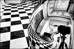 Peabody Conservatory (Nikographer [Jon]) Tags: floor tile reflection garbagecan checkerboard nikon 20160130d4209129 d4 nikond4 baltimore maryland md bw blackandwhite monochrome jhu peabodyinstitute