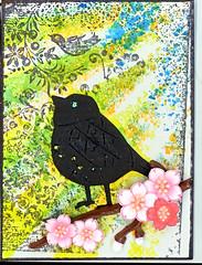 Bird ATC (gwillisinc) Tags: swapbot gwillisinc bird diecut sticker stickles dylusions stamps atc