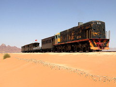 018.955 stands in the desert west of Wadi Rum at the end of our short trundle... (Scubatrack) Tags: jordan wadirum railways hejez touristtrain