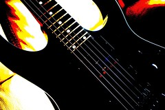 black magic - explored (quietpurplehaze07) Tags: smileonsaturday guitar posterization pictureeffect musicismagic black red yellow