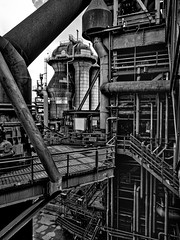 On a blast furnace - steelworks (Duisburg-Meiderich, Germany) (Jens Flachmann) Tags: steelworks steelmill furnace blastfurnace iron industry industrial architecture architectural blackandwhite blackwhite duisburg germany steel pipe tube