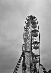 Empty Ferris (bigalid) Tags: film 35mm olympus pen ee2 bw may 2017 lomography ladygrey 400asa blackpool pier ferris wheel