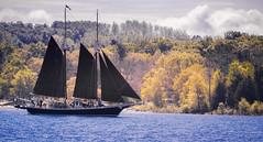 Inland Seas (Coisroux) Tags: sailships tallships mast sails sailing historicships inlandseas michigan isea d5500 nikond woodenboats forests treelines suttonsbay greatlakes