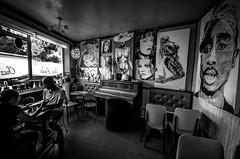 """Café """"Chez Poule"""" (Fontenay sous Bois) (Maurice HUCHON) Tags: tina poule chezpoule fontenaysousbois france nb black white noir blanc expo bar bistrot café rigollots drumel jeanclaude"""