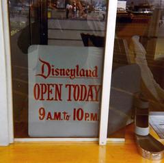 Disneyland Open Today - vintage ticket window sign (Tom Simpson) Tags: disney disneyland vintage vintagedisney vintagedisneyland ticketwindow sign 1960s open
