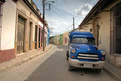 Curvy streets, blue van Camaguey (againandagain251) Tags: camaguey cuba bluevan curvystreet colourfulbuildings bigwindows