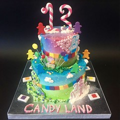 Candy Land Tiered 13th Birthday (Creative Cakes - Tinley Park) Tags: candyland boardgame birthday 13 thirteen airbrush fondant games
