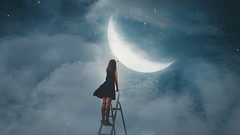 344/365 Hang the Moon (Katrina Y) Tags: moon luna selfportrait sky stars manipulation photoshop 2017 365project art surreal surrealphotography fineart conceptual concept mood
