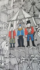 retro circus bw col close up woven wallpaper (Scrummy Things) Tags: circus illustration spoonflower surfacedesign challenge contest retro strongman tent bigtop linework drawing ink scrummy clowns giraffe elephant transport sealion kids nursery fabric wallpaper fun retrocircus closeup sample isobar ringmaster