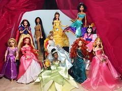 The Disney Princesses Reunited (Richard Zimmons) Tags: beautyandthebeast thelittlemermaid belle merida doll disneystore disney princess walt classics ooak aurora jasmine rapunzel tiana ariel