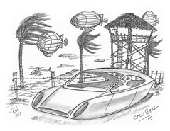 Cow Bang (rod1691) Tags: bw scifi grey concept custom car retro space hotrod drawing pencil h2 hb original story fantasy funny tale automotive art illistration greyscale moonpies sketck