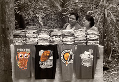 Endangered Species Entreprenieurs (FotoGrazio) Tags: asian bohol filipina filipino philippines pinoy selectivecolor streetphotography tasier visayas waynegrazio waynesgrazio woman worldphotographer business capitalism composition fotograzio people selling sepia street streetscene streetvendors tshirts tropical vendors women