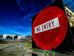 No Entry (Steve Taylor (Photography)) Tags: noentry art graffiti mural sign streetart fence chainlink black blue brown red white newzealand nz southisland canterbury christchurch cbd city perspective autumn sky sunny sunshine elephants