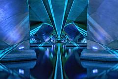 Tron Remastered (Lemuel Montejo) Tags: city blue night architecture abstract bridge design singapore long exposure computer business sg desktop tron singapura underthebridge