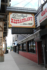 Daley's (Flint Foto Factory) Tags: chicago illinois urban city summer july 2017 woodlawn neighborhood southside daleys restaurant since 1918 809 e63rdst 63rd cottagegrove intersection delicious food institution greenline cta chicagotransitauthority terminal point endoftheline station stop sign signage