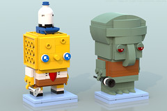 BrickHeadz: SpongeBob & Squidward (Unijob Lindo) Tags: lego leg godt spongebob squarepants sponge bob squidward tentacles competition brickset brickheadz brick headz bricks cartoon nickelodeon ldd digital designer blue render bluerender patrick star schwammkopf tadeus tentakel thaddaus thaddäus thaddeus tennisballs tortellini nick mr krabs contest funko funkopop pop culture collectibles klocki yellow slope slopes snot studs top spatula clarinet nose squid goggly eyes heads tiny small krusty krab