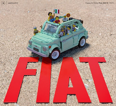 Happy 60° birthday Fiat 500! (gabriele.zannotti) Tags: fiat 500 anniversary birthday lego render blender 3d mecabricks