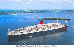 13 ladybug513 (Rocky's Postcards) Tags: oceanliner cruise ship queenelizabethii newport rhodeisland ri bridge suspension postcard ladybug513