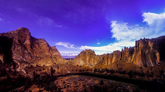 Sunrise Panorama (woodchuckiam) Tags: smithrock sunrisepanorama statepark oregon park volcanic basaltlavaflows tuff rhyoliteflows crookedriver geologicfeatures sheercliffface scenic landscape rockclimbing climbing hiking woodchuckiam