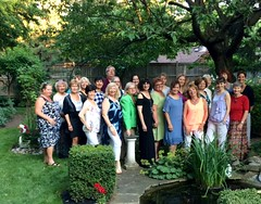 Our group photo at Marishka Glynne's lovely garden on Tues. July 04/17 for the WOMEN WHO EXCEL Business Card Bingo.
