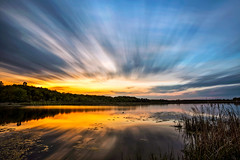 Slow Explosion (Matt Molloy) Tags: mattmolloy timelapse photography timestack photostack movement motion colourful sky sunset clouds trails smooth calm water reflection reeds cattails grass lilypads trees lyndhurst ontario canada landscape nature lovelife