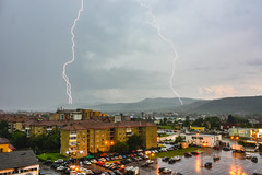 Daytime Lighting Storm (WhiteShipDesign) Tags: daytime day storm sky lightning danger strike bolt weather city thunder power rain nature light meteorology dramatic climate electric stormy thunderstorm energy buildings cityscape electricity bright discharge urban town