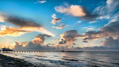 Galveston Sunrise (runcolt12) Tags: coast sea seascape galveston texas sunrise gulfofmexico bluehour goldenhour surf clouds waves fishingpier nikon d800e