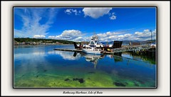 Rothesay Harbour (The Jacobite) Tags: harbour sea sky yacht pontoon gangway clear cloud reflection ferry scotland canon