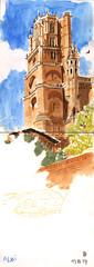 170713 Cathédrale d'Albi (Vincent Desplanche) Tags: sketch sketchbook seawhiteofbrighton seawhitesketchbook carandache neocolor neocolorii fabercastell polychromos croquis aquarelle watercolor albi tarn cathedraledalbi architecture