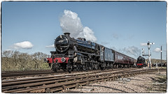 Black Staniers (Peter Leigh50) Tags: great central railway railroad train black five big eight swithland sidings april sunny sunshine steam locomotive loco engine 45305 48624 signal semaphore blue sky leicestershire uk
