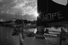 Hope (nfocalypse) Tags: portcredityachtclub ldockparty rollei35 trix hc110 pulled 40mm sailing sail mississauga ontario canada ca portcredit pcyc 400tx monochrome