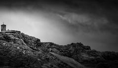 """Bude Tower"" (Ian Johnston LRPS) Tags: watchtower bude rocks point beach coast mono black white sky"