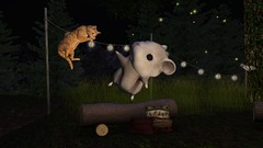 Squeeeeeeeeeeee (alexandriabrangwin) Tags: alexandriabrangwin secondlife 3d cgi computer graphics virtual world photography roscoe ginger cat attack leaping surprise sherbet hamster funny silly scream squeak home sim log istting jumping flying panic fire camp dark night stringlights