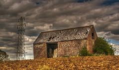 Derelict Barn 1 (niloc's pic's) Tags: derelict barn derelictbarn clouds sky pylon cables arlingtonbluebellwalk arlington eastsussex panasonic lumix dmcgh4r
