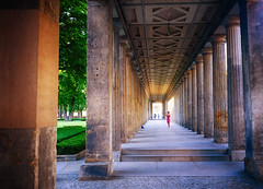 Columns on Museum Island in Berlin, Germany (` Toshio ') Tags: toshio berlin germany german europeanunion europe european museumisland woman columns architecture history patterns photography travel fujixe2 xe2