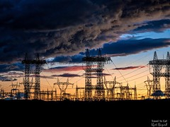 Industry Collides wth Nature in Page Arizona (Travel to Eat) Tags: pollution desert beautiful silhouette powerlines arizona page sunset