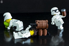 Booze Session (jezbags) Tags: lego legos legostarwars toys toy canon60d canon 60d 100mm closeup upclose minifigure minifigures macro macrophotography macrodreams macrolego stormtrooper stormtroopers troopers trooper drunk pissed sick vomit stumble drink