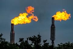 Gas flares (betadecay2000) Tags: oil refinery gas flare gass fackel gaz industral industrie abend abendstimmung fire vuur brand brennen abfackeln feuer flamme flame flammen flames lingen niedersachsen ems emsland raffenerie