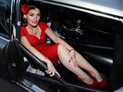 Holly_4189 (Fast an' Bulbous) Tags: pontiac gto american muscle car turbo vehicle automobile streeteliminator girl woman hot sexy chick babe model pinup long hair brunette red wiggle dress high heels shoes stilettos stockings santapod people outdoor nikon mopar