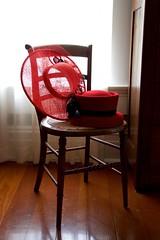 Scarlet Victorian Headwear (The Good Brat) Tags: illinois us badollethouse badollet bb victorian interior decor hats headwear red scarlet chair