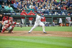"Jean Segura swinging ""bunt"" (hj_west) Tags: baseball philadelphiaphillies seattlemariners safecofield mlb interleague stadium night sports"
