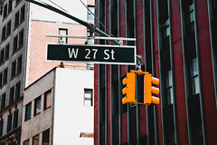 West 27th Street (Kai Pilger) Tags: manhattan newyork usa facade traffic architecture windows buildings street urban desaturated city light sign houses apartments outdoors day west 27th travel broadway ngc
