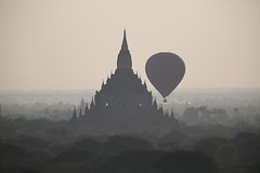 too close for comfort (PawL23) Tags: bagan balloonsoverbagan hotairballoon temple bhuddism silhouette balloon spire stupa landscape misty myanmar asia